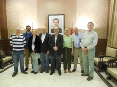 Joe Iosbaker (center) with other observers to Syria's elections.