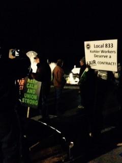 Kohler workers on the picket line.