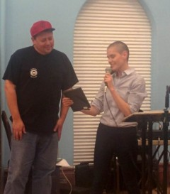 """Kait McIntyre, emcee of the event, presents Koene with """"The 'Big' Bill Haywood C"""