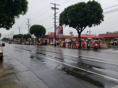 Strikers and supporters line the streets of LA.