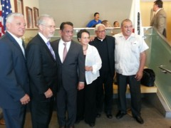 Left to right: Nativo Lopez, Hermandad Mexicana; Bennett Kayser, LAUSD  board me