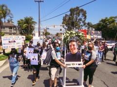 Marchers headed towards Buena Park PD.