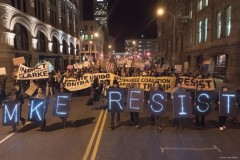 Hundreds march in Milwaukee against attacks launched by Trump administration.