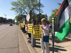 Minnesota protest demands end of all U.S. aid to Israel.