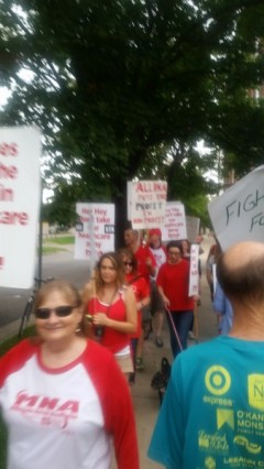 Striking MNA members on picket line.