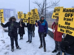 Minneapolis protest demands no war with Iran, U.S. out of Iraq.