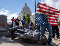 Columbus statue pulled down at Minnesota Capitol.