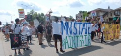 St Paul protest marches to state fairgrounds demanding justice for stolen lives