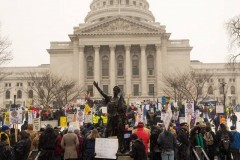Another huge protest against 'right to work' law in Madison, WI
