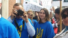 Ukrainian American reactionaries outside Chicago forum on U.S./NATO role in the