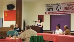 Jessica Schwartz from the Freedom Road Socialist Organization speaking at event