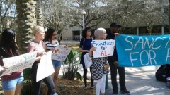USF students rally for sanctuary for all.