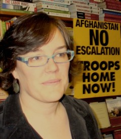 Meredith Aby, of the Twin City based Anti War Committee at the press conference