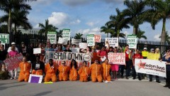 Protesters in front of U.S. Southern Command in Florida.