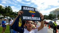 Miami protest demands U.S. hands off Venezuela.