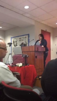 Michela Martinazzi of the Freedom Road Socialist Organization speaking