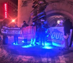 Protest demands people's agenda during Biden visit in Milwaukee.
