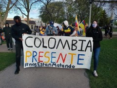 Milwaukee protest slams U.S. backed repression in Colombia.