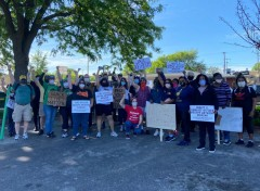 Labor contingent marches in Milwaukee protest against police crimes.