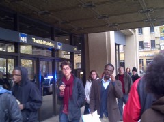 """Occupy Milwaukee held a theatrical """"Crisis 101"""" teach-in, Oct. 20, at M&I Bank."""