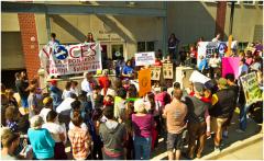 Protest against Milwaukee ICE raids.