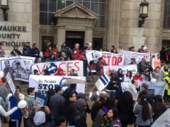 May Day rally on steps of Milwaukee Courthouse