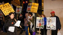 New York protest demands freedom for PFLP leader Ahmad Sa'adat.