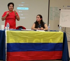 Colombian trade unionist Nidia Quintero speaking in south Florida