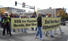 Lead banners at Minneapolis anti war march.