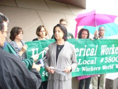 Phyllis Walker, president of AFSCME 3800 speaking at June 14 press conference