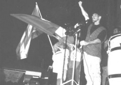 A photo of Ricardo Jimenez addressing the rally.