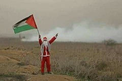 Palestinian dressed as Santa.