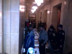 Hallway outside Assembly where protesters were dragged out