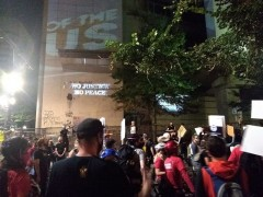 Rally at Portland federal courthouse.
