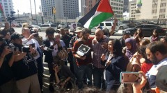 Rasmea Odeh speaking to supporters after Detroit plea agreement hearing