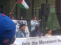 Rasmea Odeh speaking at Chicago August 29 protest against police crimes