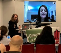 Rasmea Odeh addresses the Peoples Forum in New York City