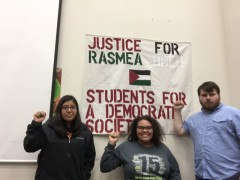 Students at Texas event demanding justice for Rasmea Odeh.
