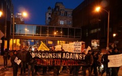 Milwaukee protest against 'right to work' legislation.