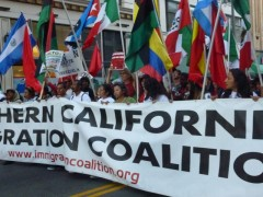 Lead banner in LA May Day march.