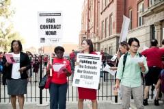 Sarah Chambers (center) during 2012 teachers strike.