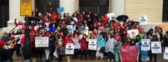 Teachers and supporters rally at Saucedo School during one day CTU walk out.