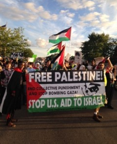Marching for Palestine in Colombia Heights.