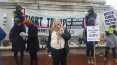 FRSO Political Secretary Steff Yorek speaking at Washington DC rally against Tru