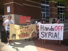 Clarksville protest against a U.S. military attack on Syria.
