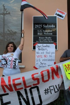 Miami protest at Senator Nelson's office against war on Syria.