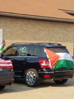 Texas protest against normalization with Zionist occupation of Palestine.