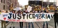 Justice for Brian Quinones protesters block light rail train in Minneapolis