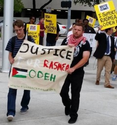 Protest in Houston, TX demands justice for Rasmea Odeh.