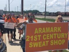 Wisconsin Aramark laundry workers walk off the job.